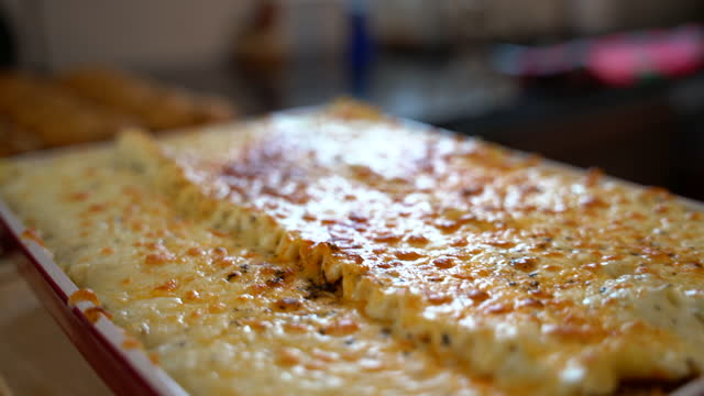 video of a cooked lasagna. - gratin stock videos & royalty-free footage