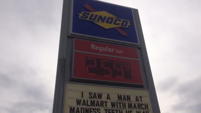 Video of a funny sign at the Conoco Gas Station on Westbourne Drive The sign made a joke about the NCAA's Final Four during March Madness
