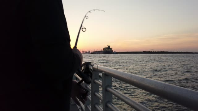 video of a man fishing at sunset. - eastern usa stock videos and b-roll footage