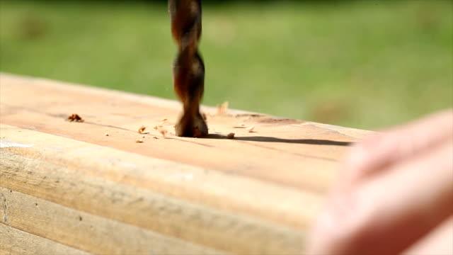 木に穴をあける人の 4 k 映像 - ドリルビット点の映像素材/bロール