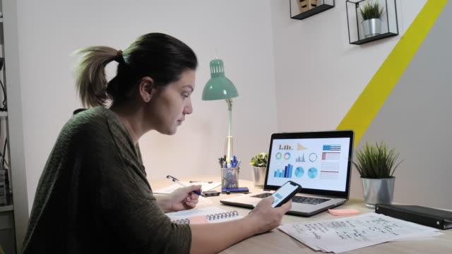 コロナウイルスのロックダウンによる財政を扱う自宅で働く成人女性のビデオ - analysing点の映像素材/bロール