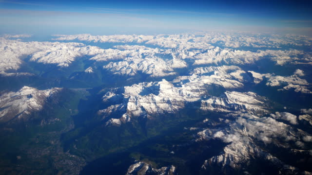 Video of aerial shot on Alps moutains in 4K