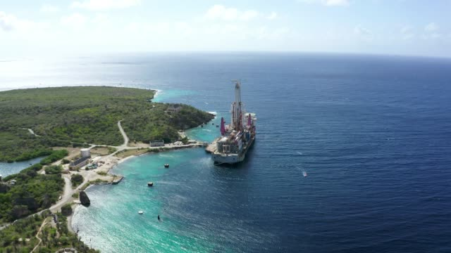 4K Video of Aerial View of Caracas Bay and Caribbean Sea in Curacao
