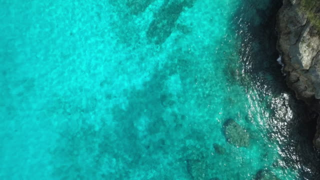 4k video of aerial view of caribbean sea in curacao - bright colour stock videos and b-roll footage