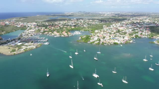 4K Video of Aerial View of Spanish Waters Bay and Caribbean Sea in Curacao