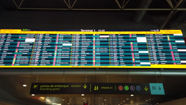 vídeos de stock e filmes b-roll de video of an arrival and departure board. - equipamento