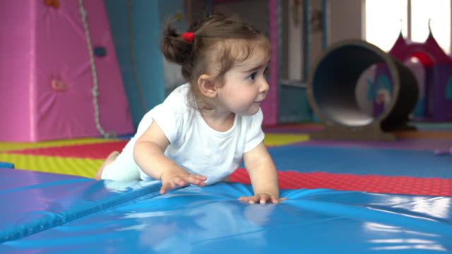 UHD Video Of Baby Girl Crawling