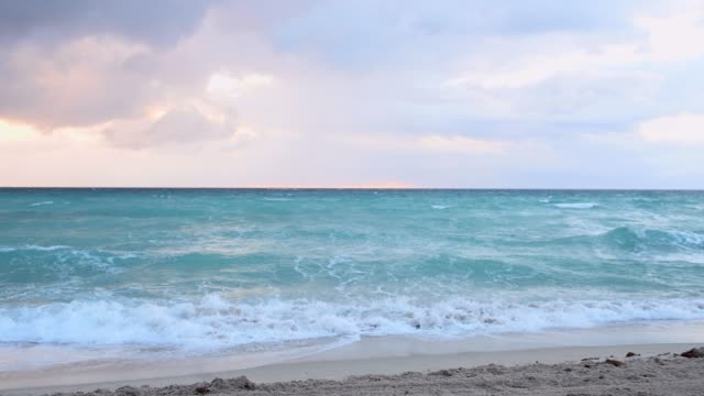 video of beach sunrise in miami florida on an overcast morning - copy space stock videos & royalty-free footage