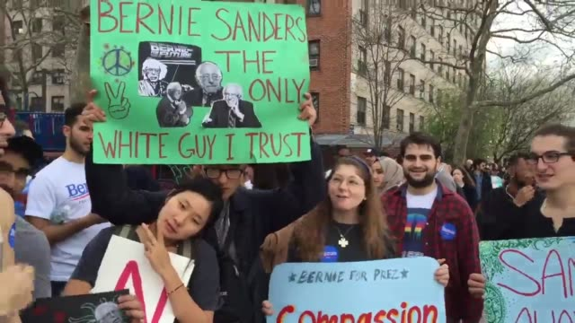 video of bernie sanders at his rally in the south bronx he came outside to speak to the overflow crowd of 10000 supporters additional sots from the... - bernie sanders stock videos & royalty-free footage