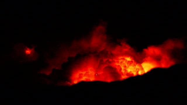 video of fire erupting volcanoes national park hawaii - erupting stock videos & royalty-free footage