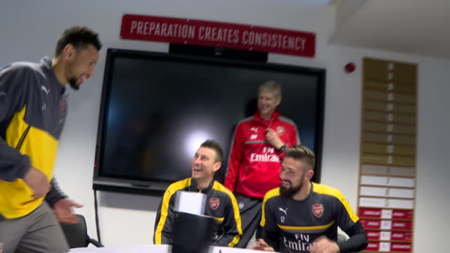 A video of Francis Coquelin Olivier Giroud and Laurent Koscielny signing new contracts with Arsenal FC