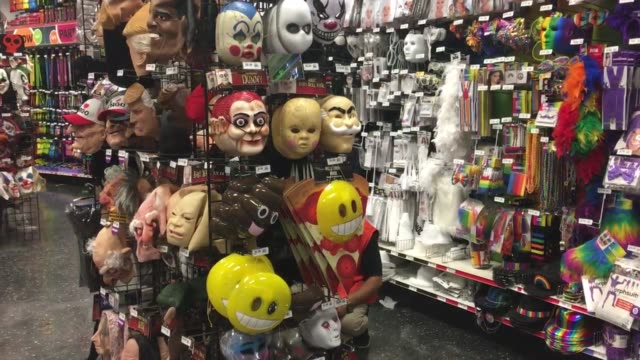 video of halloween candy and costumes at party city in woodland park nj - confectionery stock videos & royalty-free footage