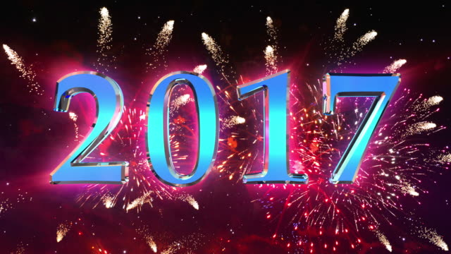 Video of happy new year 2017 fireworks in 4K
