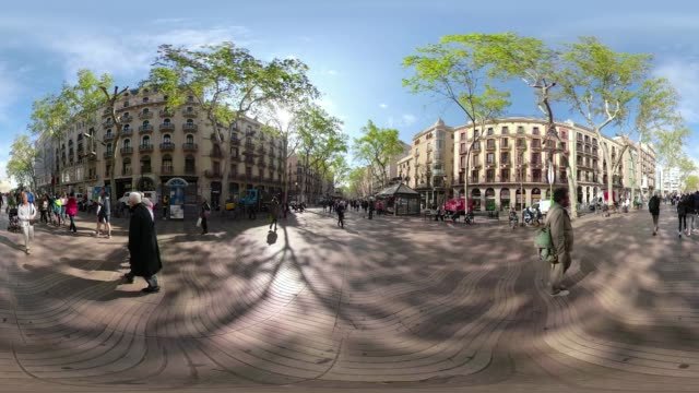 360 video of Las Ramblas Barcelona. VR equirectangular panorama