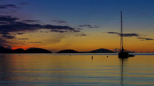 video of maho bay, st.john, usvi during sunset - stationary stock videos & royalty-free footage