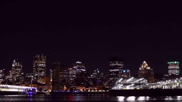 4k video of montreal city at night. - business travel stock videos & royalty-free footage