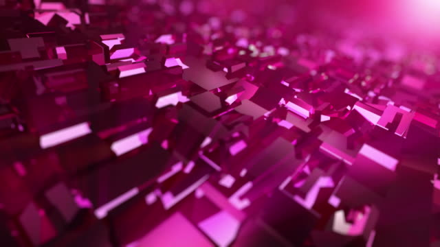 Video of moving pink cubes - loopable background in 4K