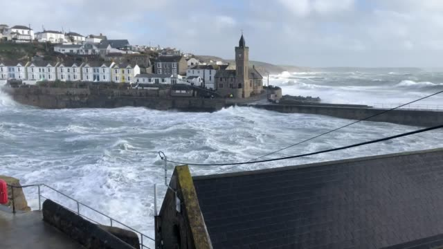 video of porthleven and near st michael's mount in cornwall as storm freya brings strong winds of up to 80mph dangerous conditions and travel... - cornwall england stock videos & royalty-free footage