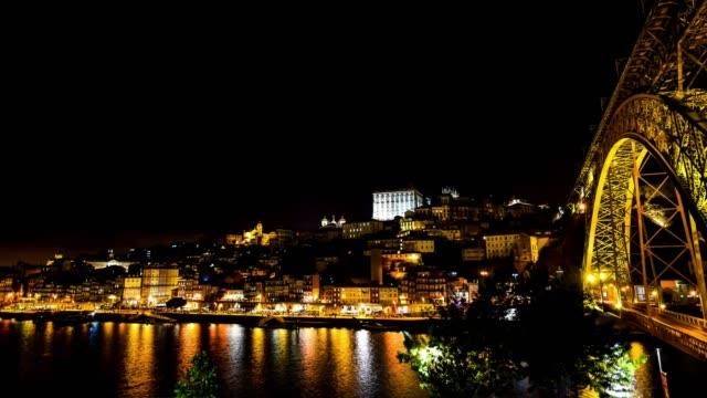 ポルト市夜のビデオ - ポルトガル点の映像素材/bロール