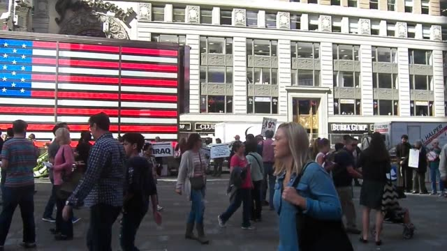 video of rally which took place in time square new york city. to mark the us war in afghanistan. on october 7th, 2001 the u.s. launched a military... - 2001 stock videos & royalty-free footage