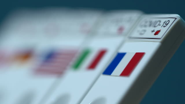 4k video of rapid covid-19 medical test kit with flag of france next to other countries flags - french flag stock videos & royalty-free footage