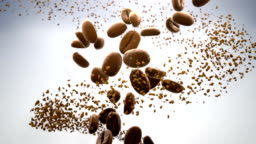 3D CGI video of roasted coffee beans and instant coffee particles slowly flowing in spiral over white background