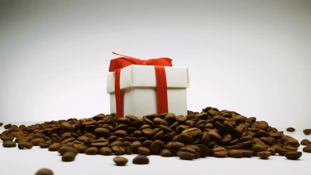 Video of rotating coffee beans and gift box