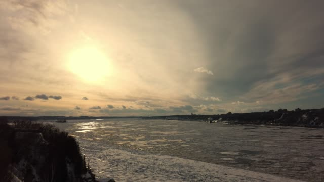 Video of Saint Lawrence river at sunset.