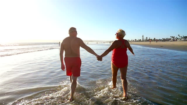 Video of senior couple in love in slow motion