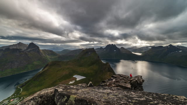 video of senja island landscape. - mountain peak stock videos & royalty-free footage