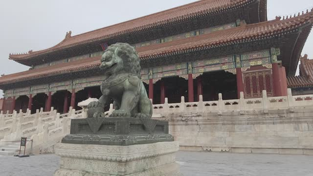 video of snow falling at the forbidden city is seen in the snow in beijing, capital of china. footage by: costfoto / barcroft studios via getty images - forbidden city stock videos & royalty-free footage