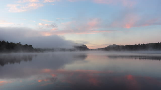 4K Video of Sunrise at Monroe Lake, Tremblant, Quebec, Canada