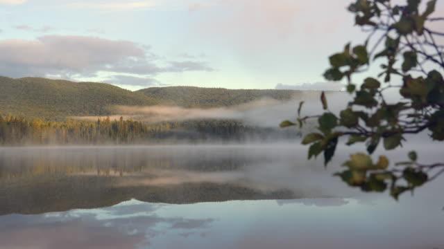 モンロー湖、トランブランには、カナダ ケベック州でサンライズの 4 k 映像 - 寒帯林点の映像素材/bロール