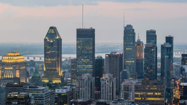 video of sunrise over the city - montreal video stock e b–roll