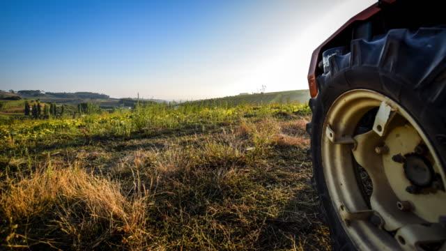 video del tramonto sul campo portoghese. - trattore video stock e b–roll
