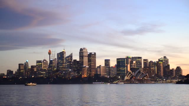 video of sydney city sunset. - establishing shot stock videos & royalty-free footage
