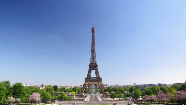 video of the eiffel tower shot over the trocadéro gardens, daytime - other stock videos & royalty-free footage