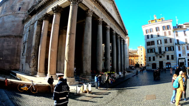 4k video of the pantheon in the piazza navona square in rome, italy - temple building stock videos & royalty-free footage