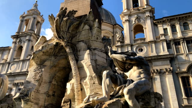 4k video of the piazza navona is a square in rome, italy with water foutains near pantheon - pantheon rome stock videos and b-roll footage