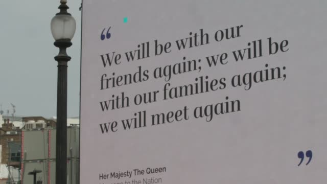 video of the queen's address to the nation over the coronavirus crisis is shown on the big screens at piccadilly circus in central london. in the... - piccadilly circus stock videos & royalty-free footage