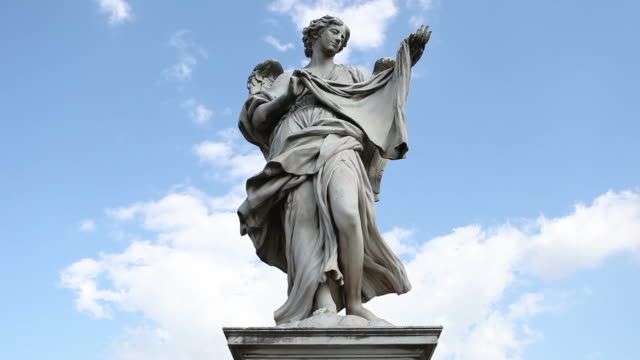video of the statues on castel sant'angelo bridge - sculpture stock videos & royalty-free footage
