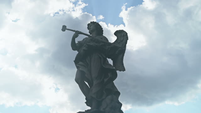video of the statues on castel sant'angelo bridge - angel stock videos & royalty-free footage
