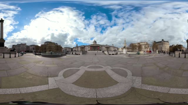 360 video of trafalgar square after the country continued quarantine measures intended to curb the spread of covid19 but the infection rate is... - pedestrian walkway stock videos & royalty-free footage