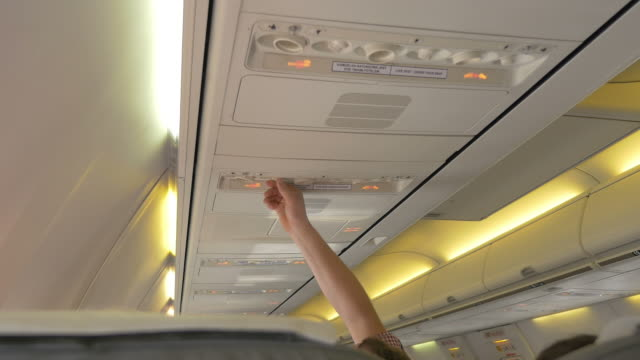 Video of turning on the air flow in the airplane in 4K
