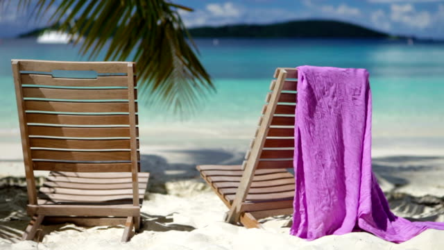 video of two chairs at Salomon Bay Beach, St.John, USVI