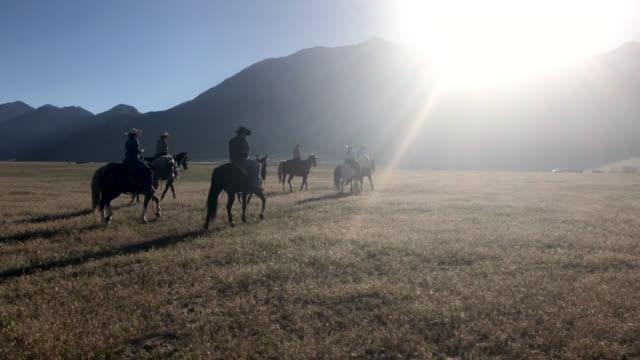 Vidéo de Utah Cow-Boys à cheval et élevage de bétail dans l'ouest à l'extérieur pour un tour d'horizon Stampede Rodeo de marque