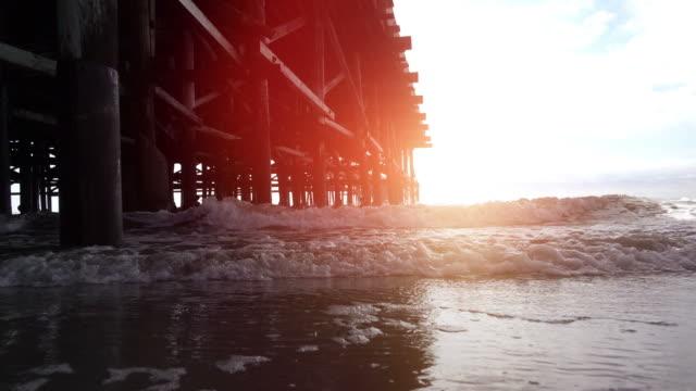 Video of waves smashing under pier in 4k
