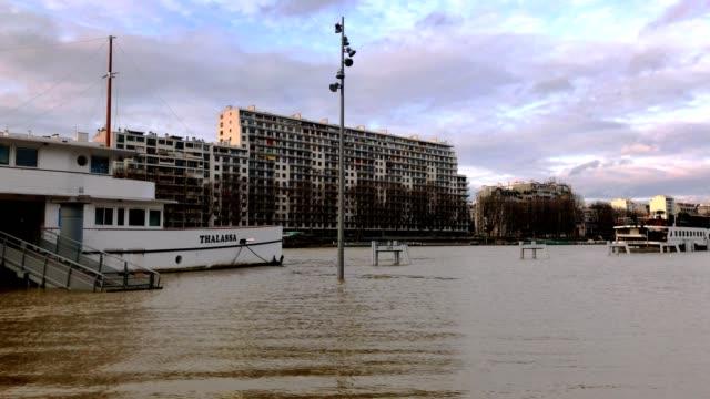 Video pan showing major Seine flood in Paris France