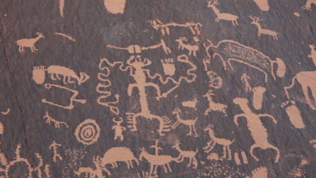 hd video panel native american newspaper rock petroglyphs utah - north american tribal culture stock videos & royalty-free footage