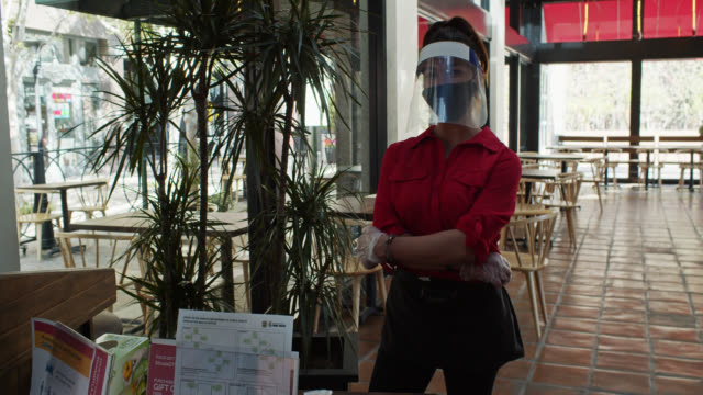 Video Portrait of Restaurant Host Wearing PPE During Covid-19 Pandemic